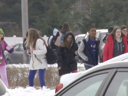 Students at George Read Middle School are dismissed