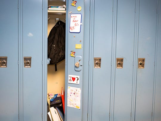 FILE - A decorated locker is seen on October 4, 2012 at a high school in Bethesda, Maryland.