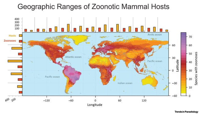 This map shows geographic ranges of zoonotic mammal hosts.