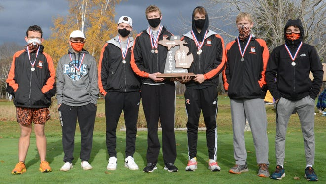 The Rudyard Bulldogs took second at UP Finals Division 3 cross country Saturday. The Bulldogs include, from left to right: Ross Malaska, Lane Cozort, Nathan Walling, Gannon Smith, Hayden Mills, Brody Hunt and Bradley Hall. Not pictured: head coach Mark Rice and assistant coach Brad Hall.