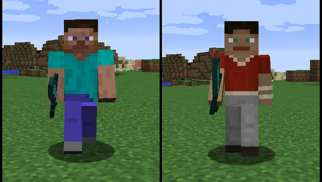 The new 'Minecraft' character model (right) would lose one pixel in width in each arm, but the torso and legs would remain the same.