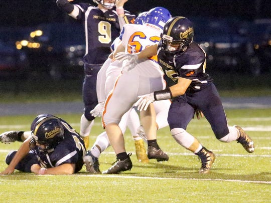 Gary Raupers makes a throw for Notre Dame against Thomas A. Edison on Friday night at Brewer Memorial Stadium.