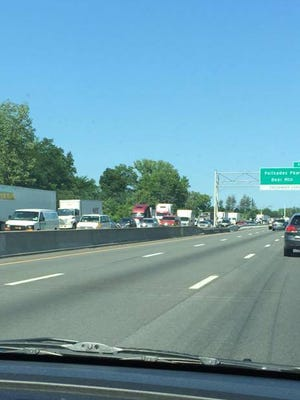 A reader submitted this image of backed up traffic heading toward the Tappan Zee Bridge this morning. Christy Harford Ingalls was traveling north approaching the northbound entrance to the Palisades Interstate Parkway in West Nyack at about 10:15 a.m. when she snapped this image, July 21, 2016.
