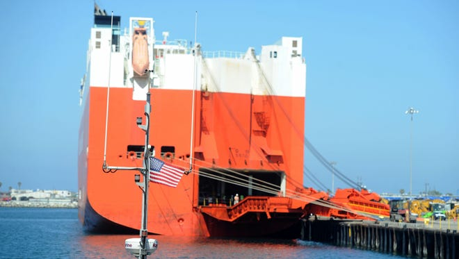Cars are unloaded from the Wallenius Wilhelmsen at the Port of Hueneme.
