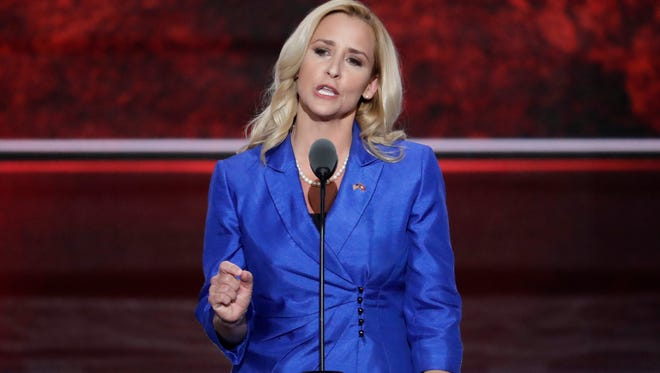 Arkansas Attorney General Leslie Rutledge, speaks during the second day of the Republican National Convention in Cleveland, Tuesday.