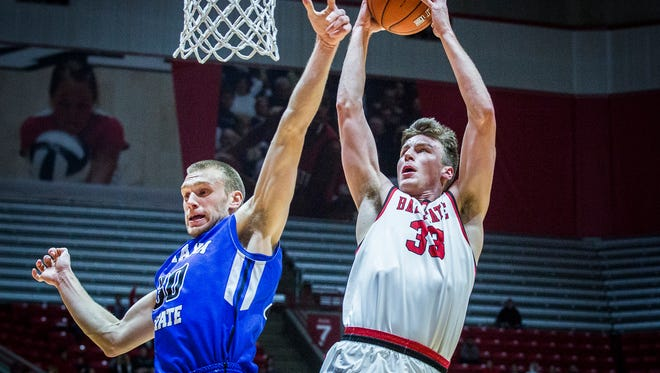 Ball State's Ryan Weber shoots past Indiana State's defense during their game at Worthen Arena Tuesday, Nov. 15, 2016.