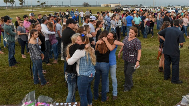 Hundreds gathered to honor the lives of Santia Feketa, 18, and Britney Poindexter, 17, Thursday, Feb. 8, 2018, during a memorial service at the St. Lucie County Fairgrounds in Fort Pierce. The two teenagers were killed in fatal car accident Tuesday, Feb. 6, on Okeechobee Road just west of Midway Road.