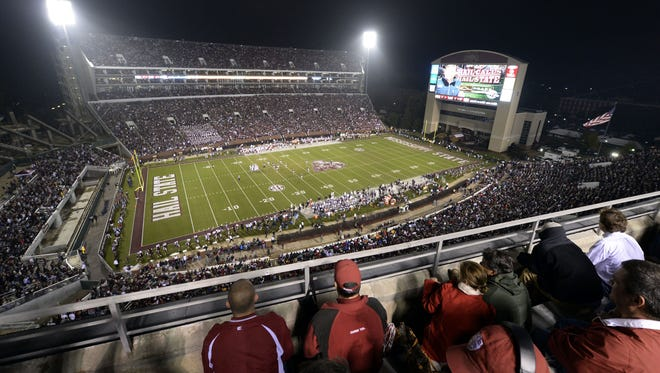 General view of the Alabama Crimson Tide game against the Mississippi State Bulldogs during the third quarter at Davis Wade Stadium on Nov. 16, 2013.