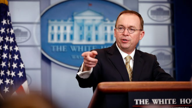 White House budget director Mick Mulvaney speaks during a press briefing at the White House Jan. 20.
