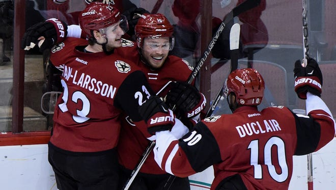 Coyotes youngsters Max Domi (16), Oliver Ekman-Larsson (23) and Anthony Duclair (10) are big reasons why the team is surpassing dismal preseason projections.