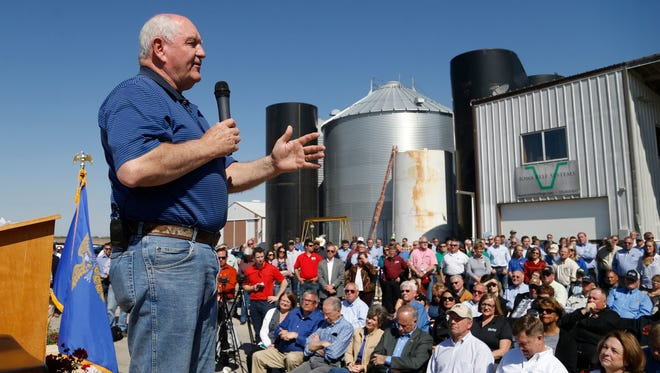 U.S. Secretary of Agriculture Sonny Perdue talks to Iowa farmers during a May 5 stop in A speech Friday in Nevada, IA.