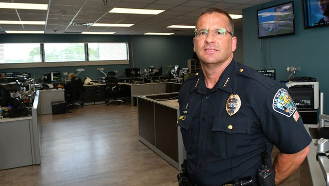 Jim Rogers is the new Palm Bay police chief, seen here in theor newly refurbished and expanded 911 communications area. He began at PBPD in 1987.