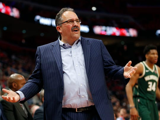 Feb 28, 2018; Detroit, MI, USA; Pistons coach Stan Van Gundy reacts after a play during the third quarter against the Bucks at Little Caesars Arena.
