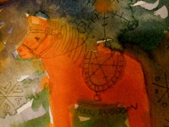"""Dolly, the Little Swedish Dala Horse,"" watercolor"
