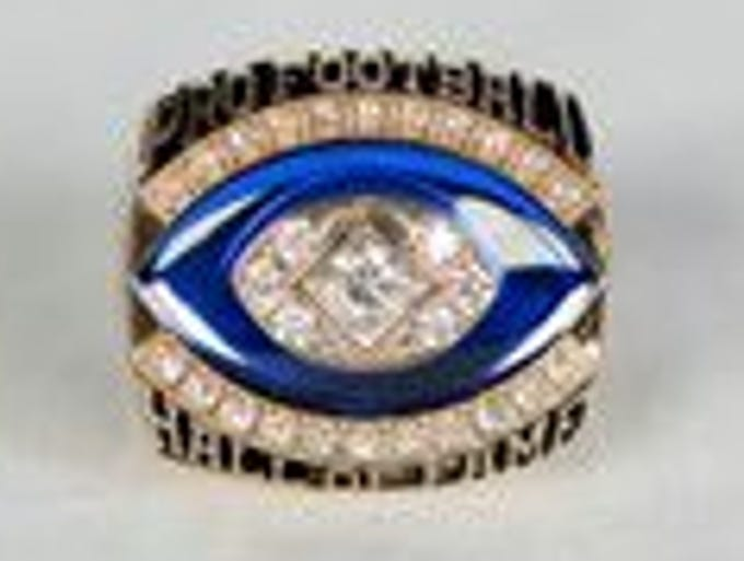 A view of the Pro Football Hall of Fame ring awarded