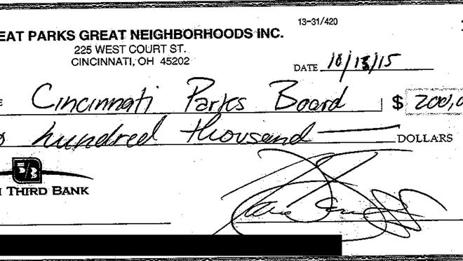 An image of the check back to Cincinnati Parks.