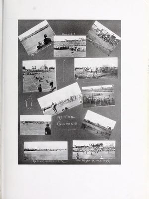 Collage from the 1916 Clemson College yearbook includes a photo (bottom left) of the 1915 Clemson-Auburn game played in Anderson