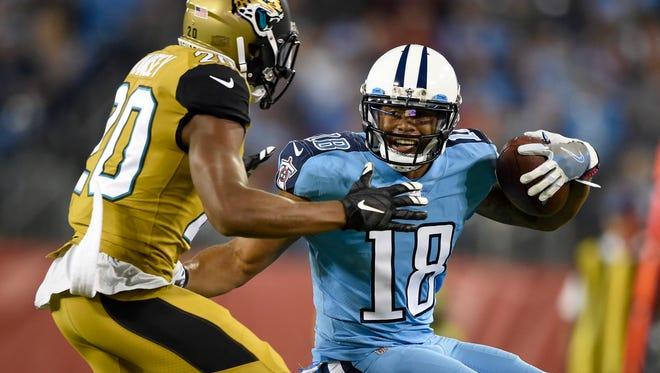 Titans wide receiver Rishard Matthews (18) moves the ball against Jaguars cornerback Jalen Ramsey (20) at Nissan Stadium Thursday, Oct. 27, 2016, in Nashville, Tenn.