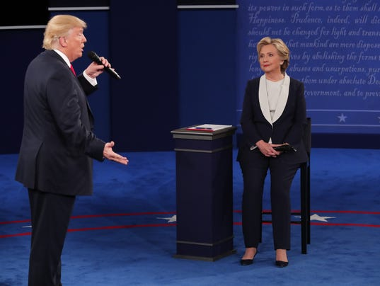 Donald Trump and Hillary Clinton during their second presidential debate at Washington University in St. Louis.