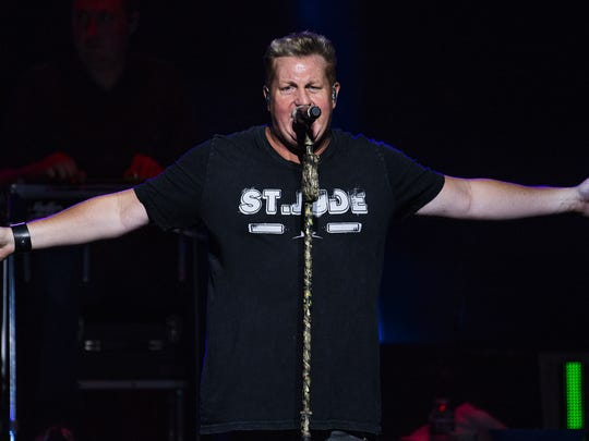 Gary LeVox, lead singer of Rascal Flatts, belts one out at Ak-Chin Pavilion in Phoenix during the band's Rhythm & Roots Tour, Friday, July 16, 2016.