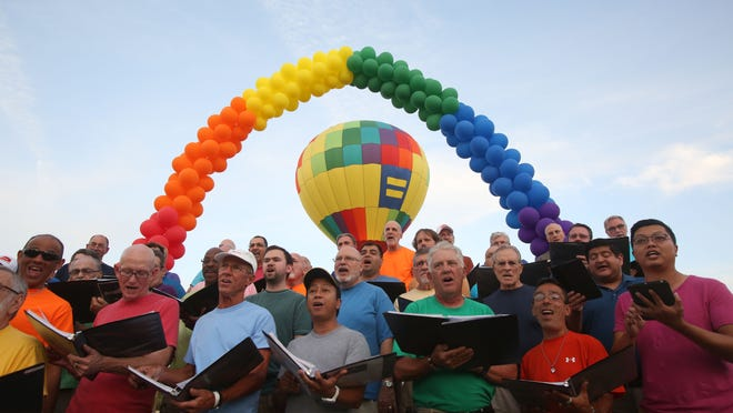 Cathedral City kicked off its LGBT Days festival at the city's Civic Center on Friday. The event started with a men's choir pictured here.