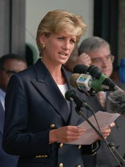 Diana, delivers a speech on Jan. 13, 1997, in Angola as part of an effort to create awareness about land mines.