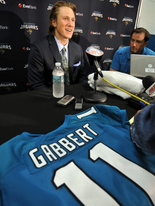 FILE - In this April 29, 2011, file photo, Jacksonville Jaguars' No. 1 draft pick Blaine Gabbert responds to questions during an NFL football news conference in Jacksonville, Fla. Gabbert, who now plays for the Arizona Cardinals. won't call it a revenge game, but he must be pleased to get a chance to face the Jaguars on Sunday. They were the team that drafted him in the first round and sent him away as a major disappointment. ( Bob Self/The Florida Times-Union via AP< File)