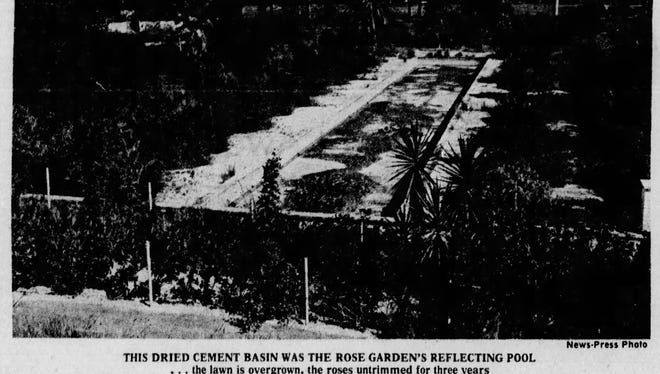 The Rose Garden reflecting pool (or the Waltzing Waters), 3 years after the Gardens closed.