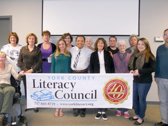 Tutors who are completing tutor training in March are shown here. Pictured in the front row, from left, are: Kelli Good, Diane McElwain, Samantha Cuculis, Coung Nguyen, Mary Ann Price, Genie Rose, Erin Magee, and William Stambaugh. Pictured in the back row, from left, are: Donna Barton, Sharon Reed, Sally Kashner, Mancy Imhoff, Stevon Barnett, and Alexis Stegemann