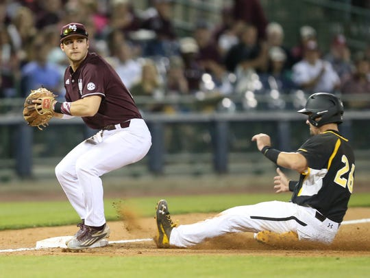 Southern Mississippi's Tim Lynch (26) from Jupiter, Fla. (Dwyer HS) is forced out at third. Mississippi State and the University of Southern Mississippi played a college baseball game Tuesday, March 29, 2016 at Trustmark Park in Pearl. (Photo by Keith Warren)