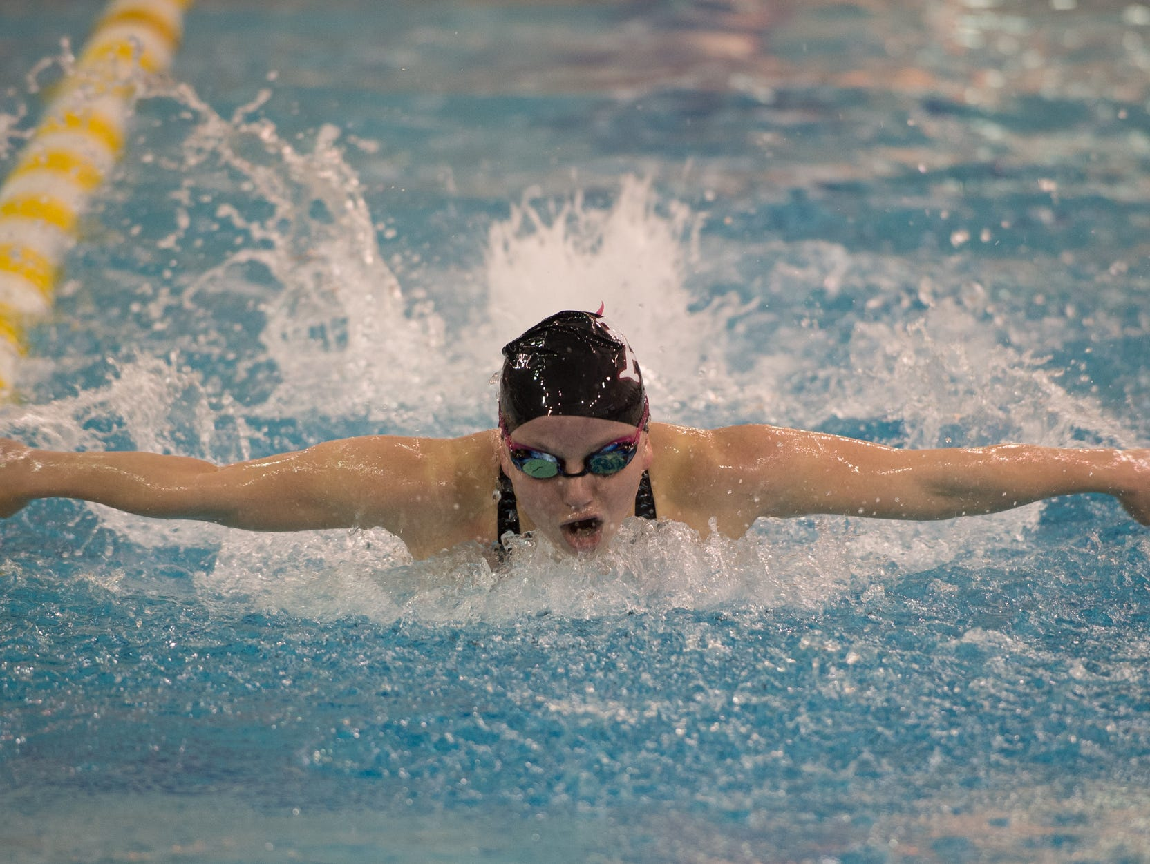 Appoquinimink's Josephine Marsh competes in the 100 yard butterfly final at the girl's DIAA swimming and diving championships at the University of Delaware.