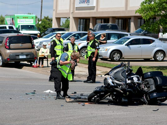 Police motorcycle wreck