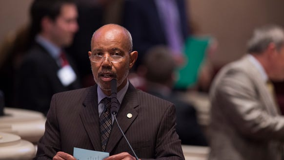 Rep. A.J. McCampbell, D-Demopolis, speaks about the