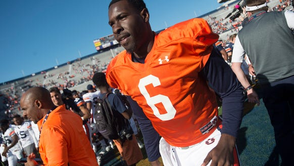 Auburn quarterback Jeremy Johnson (6) walks off the