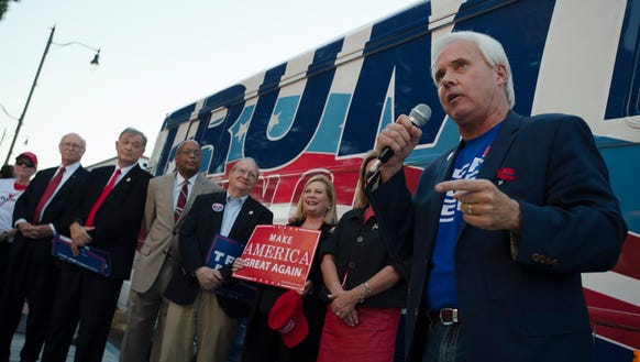 Perry Hooper Jr. campaigns for Donald Trump during