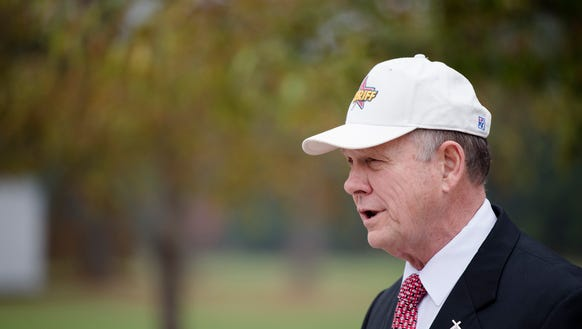 Roy Moore, Republican nominee for Senate, speaks at