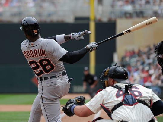 Niko Goodrum hits a two-run home run against the Twins.