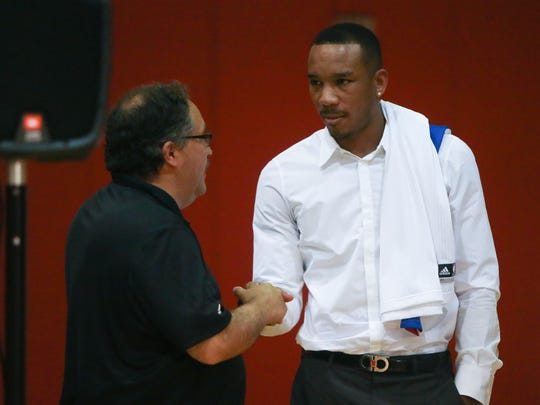 Detroit Pistons president and head coach Stan Van Gundy and new guard Avery Bradley talk Thursday, July 13, 2017 at the practice facility in Auburn Hills.