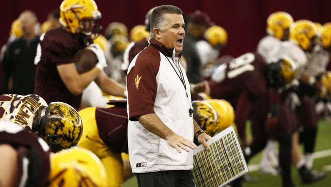 ASU head coach Todd Graham at spring football practice on April 2, 2015 in Tempe.
