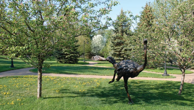 Bart Walter, Ostrich (5/5), 2001, bronze. On view at the Woodson Art Museum in the Margaret Woodson Fisher Sculpture Garden.