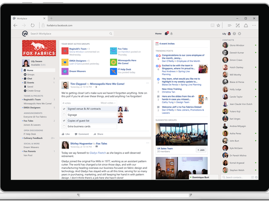 The desktop home page of Workplace by Facebook