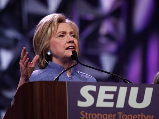 Hillary Clinton speaks at the Service Employees International