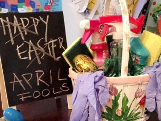 Aside from this prank basket, Port St. Lucie, Fla., mom Danielle McGowan hid puzzle pieces in plastic eggs around her home. Her two kids had to work together to complete the puzzle, which she customized to reveal the location of their real baskets.