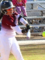 Tularosa freshman Ramona Fossum makes contact with a ball.