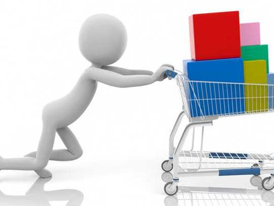 Illustrated figure pushing a full shopping cart.