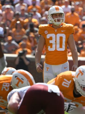 Tennessee kicker Brent Cimaglia made 8 of 13 field-goal attempts last season as a freshman.