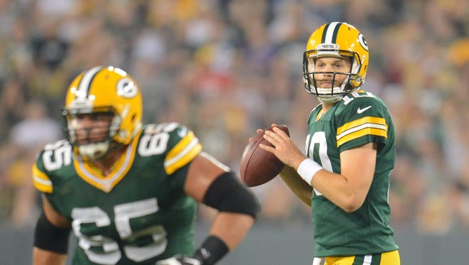 Though Scott Tolzien had the better night Friday at quarterback, Matt Flynn (10) seems more likely to make the Packers' final roster.