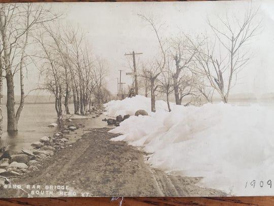 A 1909 photo of the snow on the sandbar near South Hero.