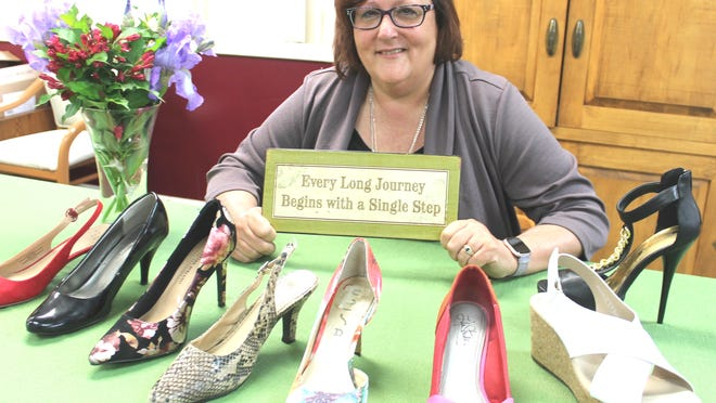 Kim Hemker, director of BCCADSV will be walking in these shoes on June 27, in Walk-A-Mile in Their Shoes to raise $10,000 towards the total.