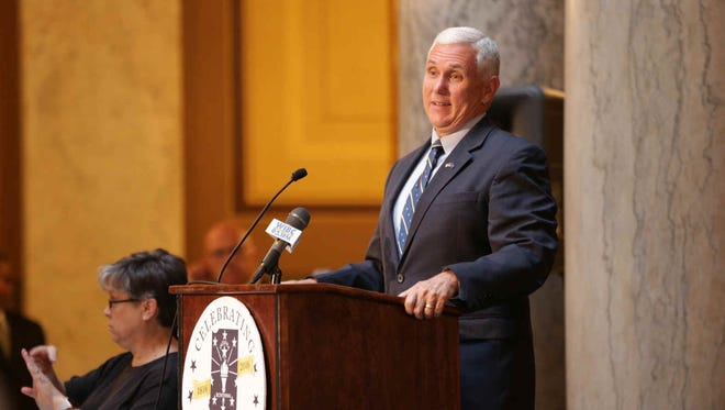 Indiana Governor Mike Pence gives remarks during the 1816 Commemorative Forever Stamp First-Day-Of-Issue Stamp Dedication Ceremony, celebrating Indiana's Bicentennial, held at the Indiana Statehouse, Tuesday June 7th, 2016.